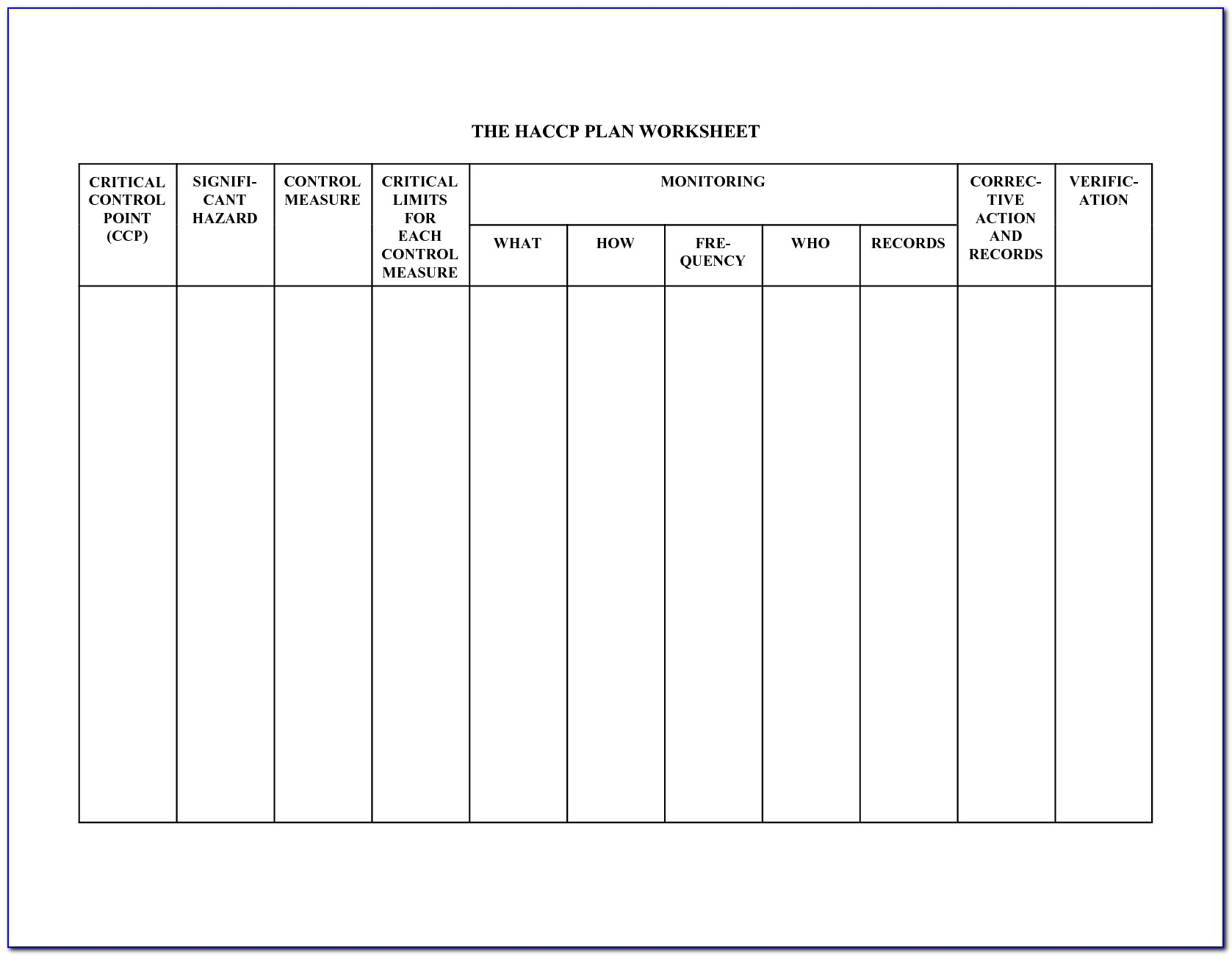 Haccp Plan Template Usda