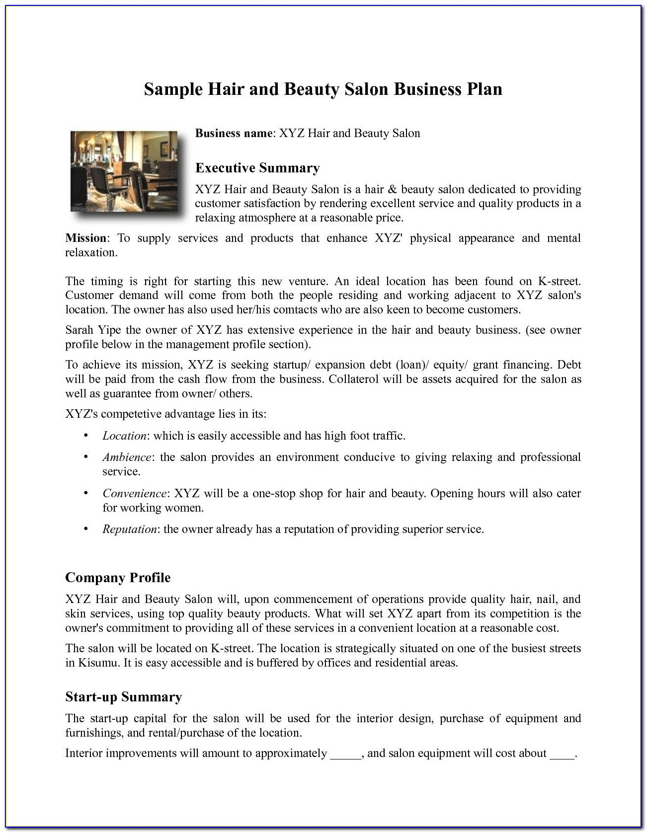 Hair Salon Business Plan Sample Pdf
