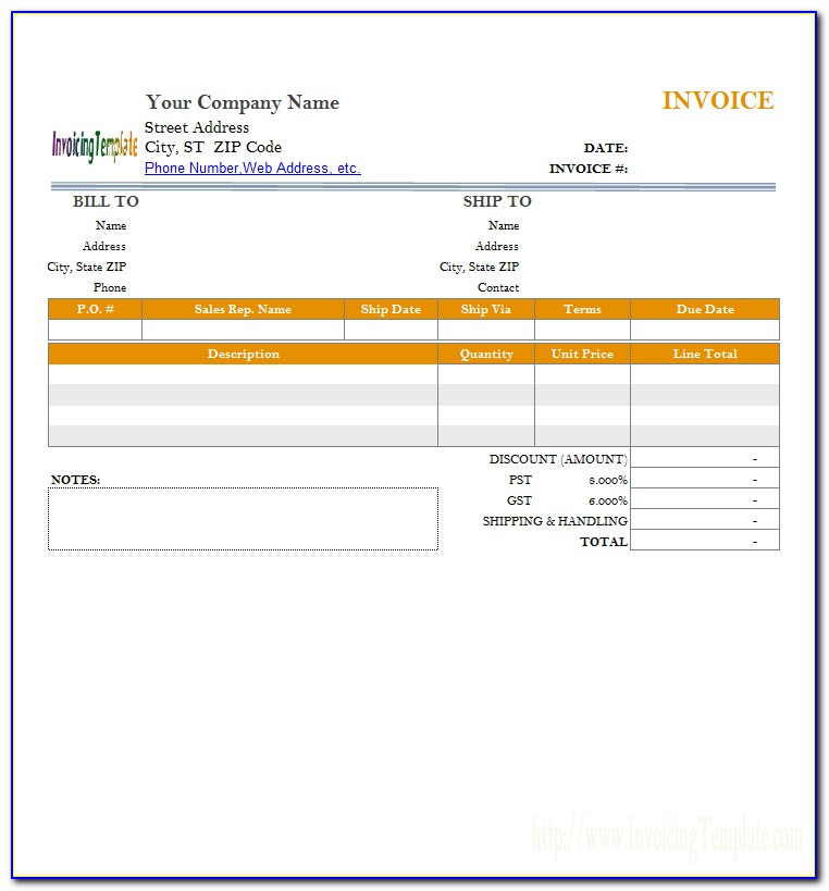 Half Page Invoice Template Word