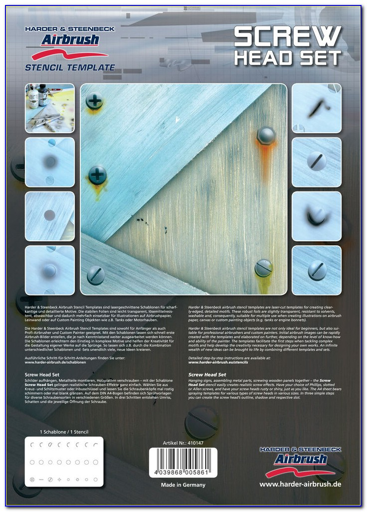 Harder Steenbeck Airbrush Stencil Templates