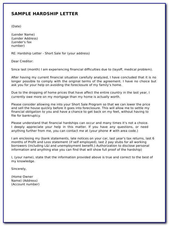 Hardship Letter For Short Sale Due To Divorce