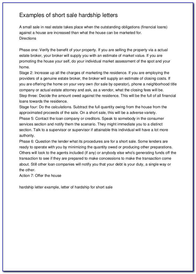 Hardship Letter For Short Sale Template