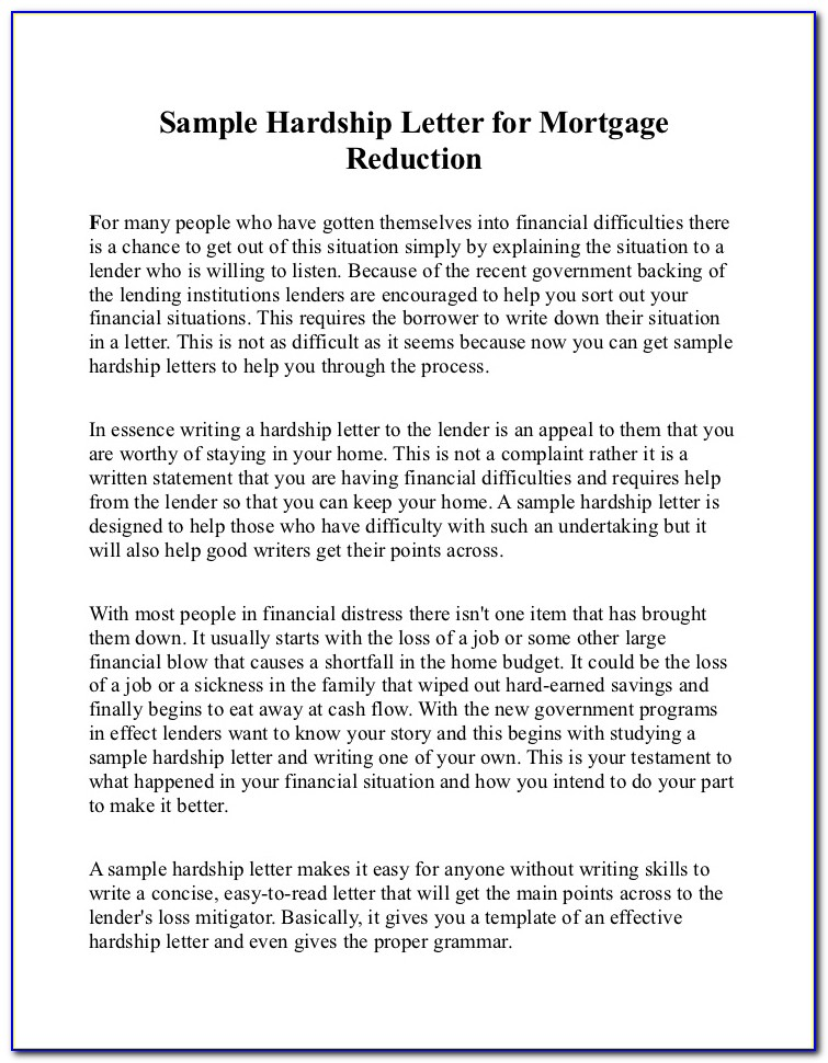 Hardship Letter Short Sale Relocation