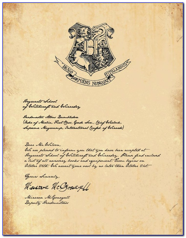 Harry Potter Acceptance Letter Invitation Template