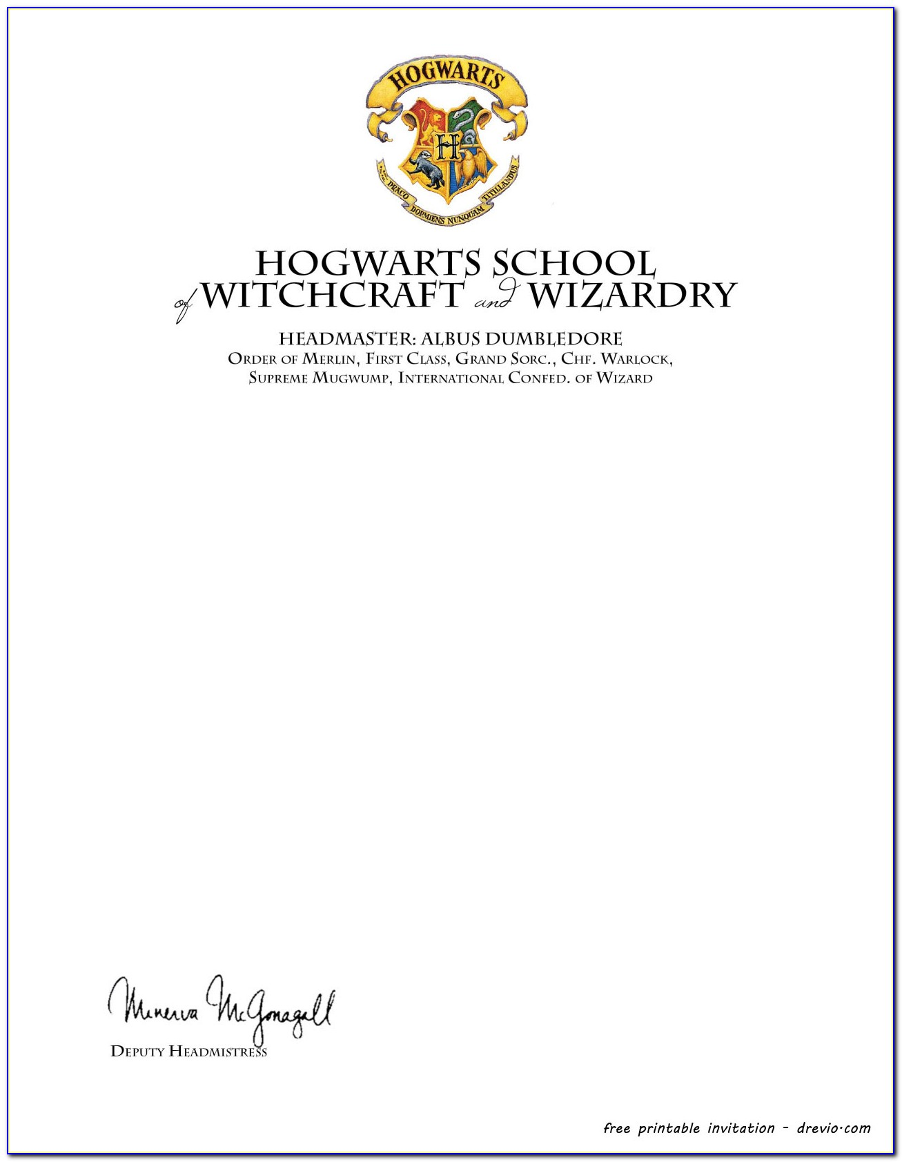 Harry Potter Hogwarts Invitation Template