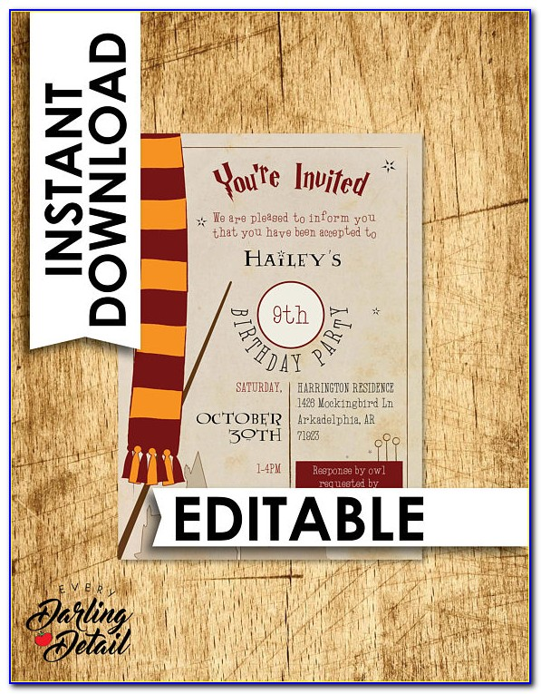 Harry Potter Invitation Template Word