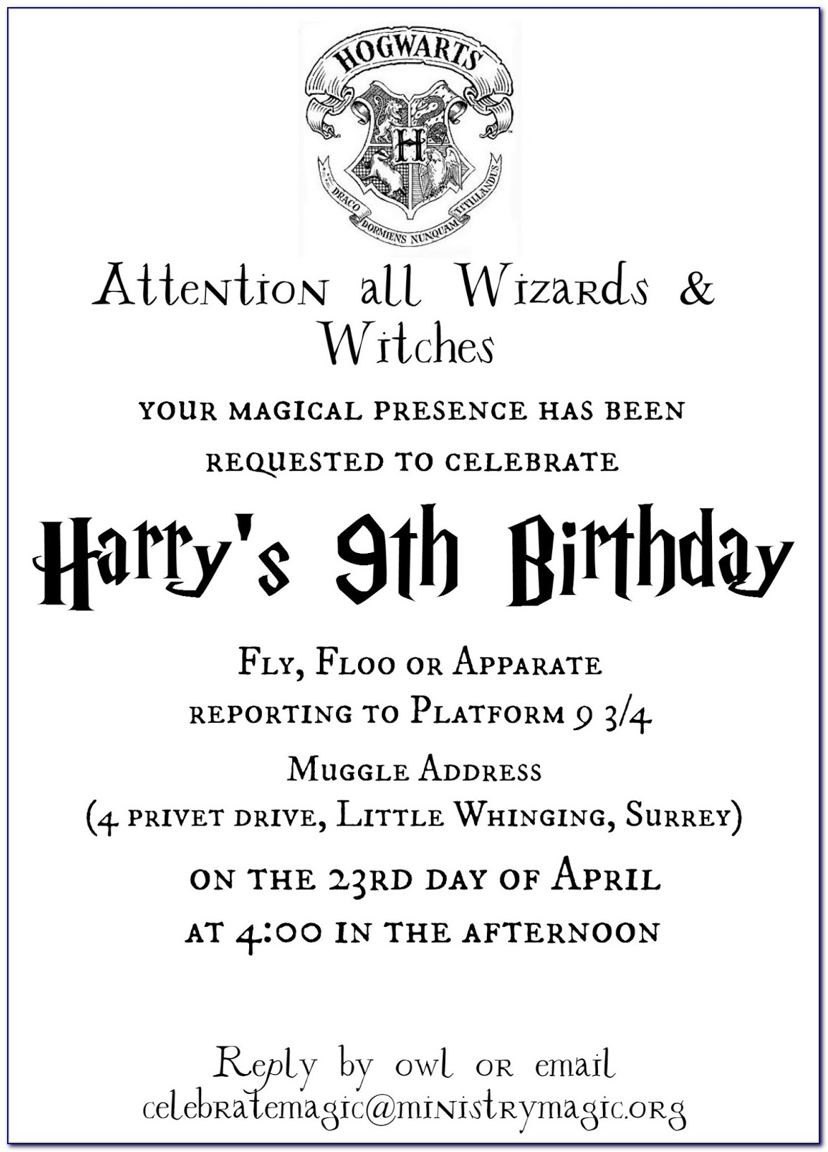 Harry Potter Printable Invitation Templates