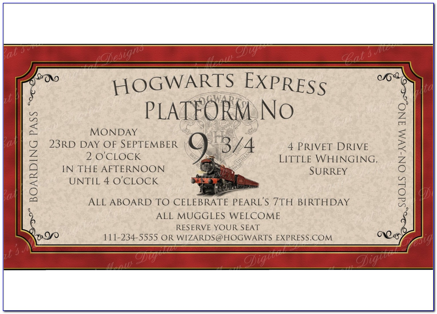 Harry Potter Wedding Invitation Printable