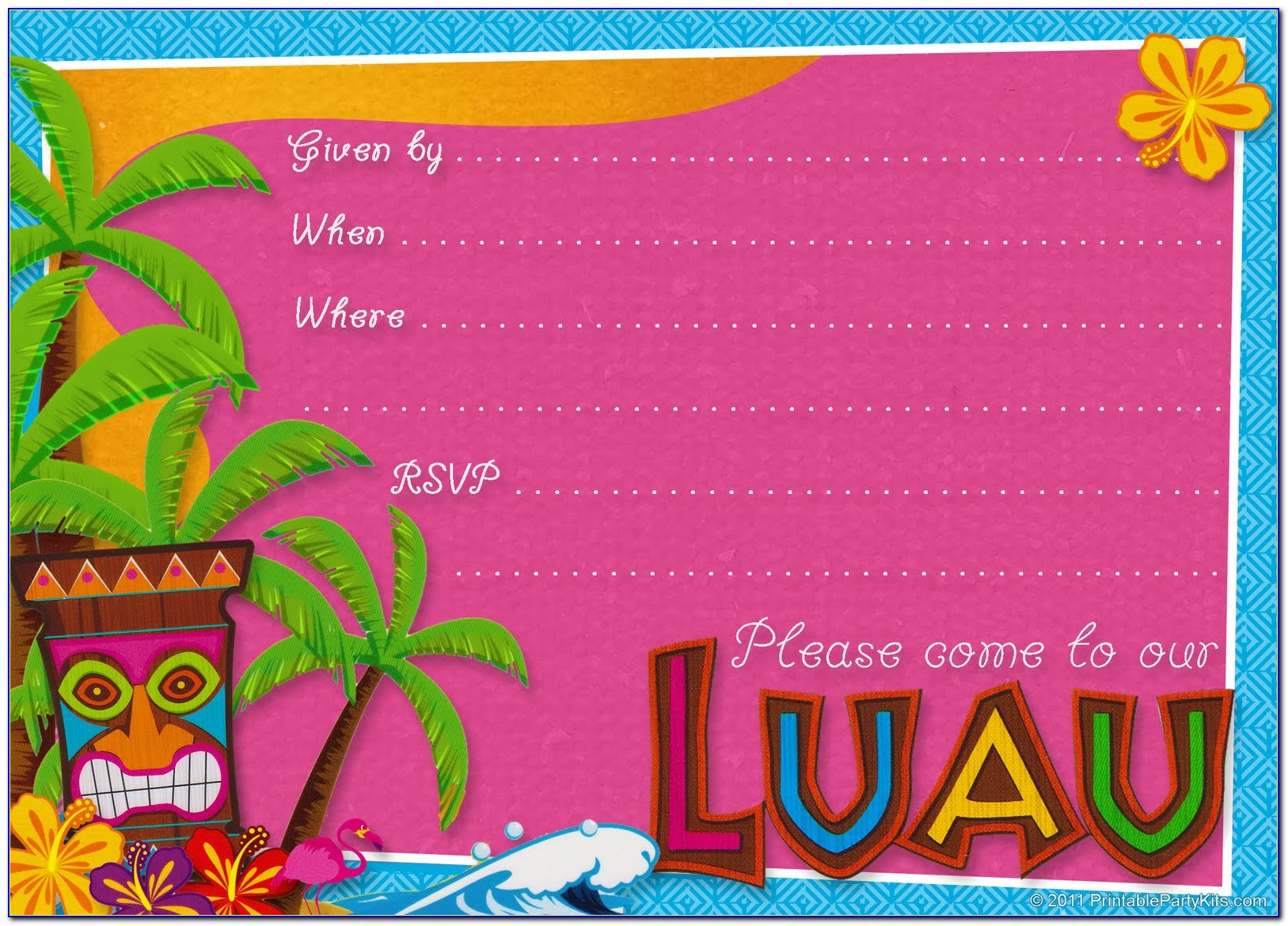 Hawaiian Shirt Invitation Template