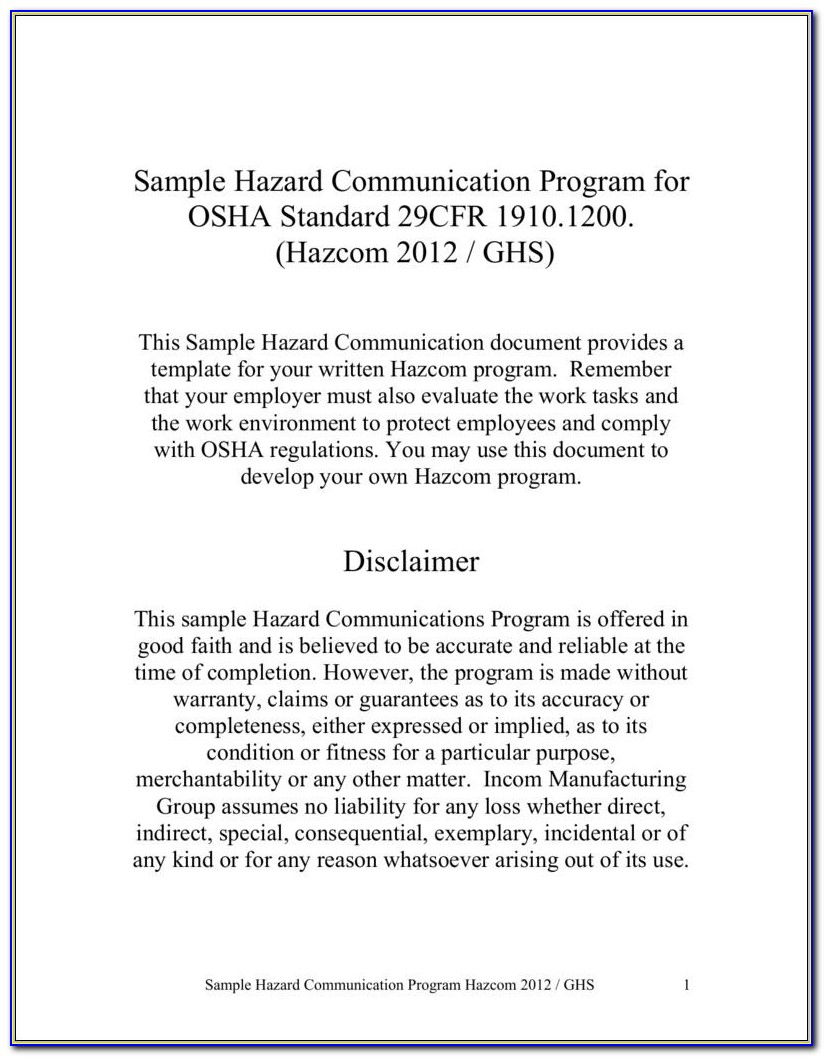 Hazard Communication Program Template 2014
