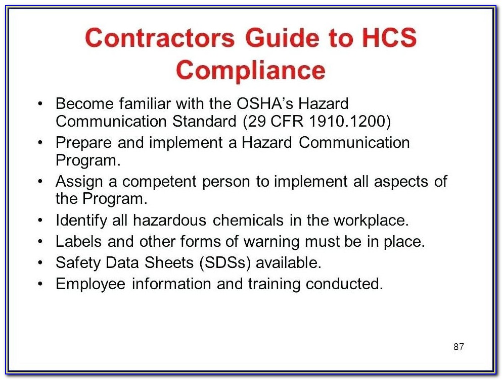 Hazard Communication Standard Template