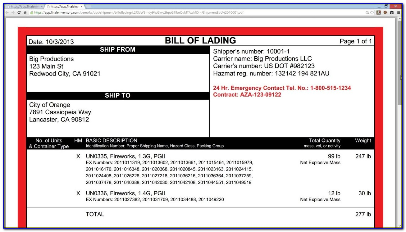 Hazardous Materials Bill Of Lading Form