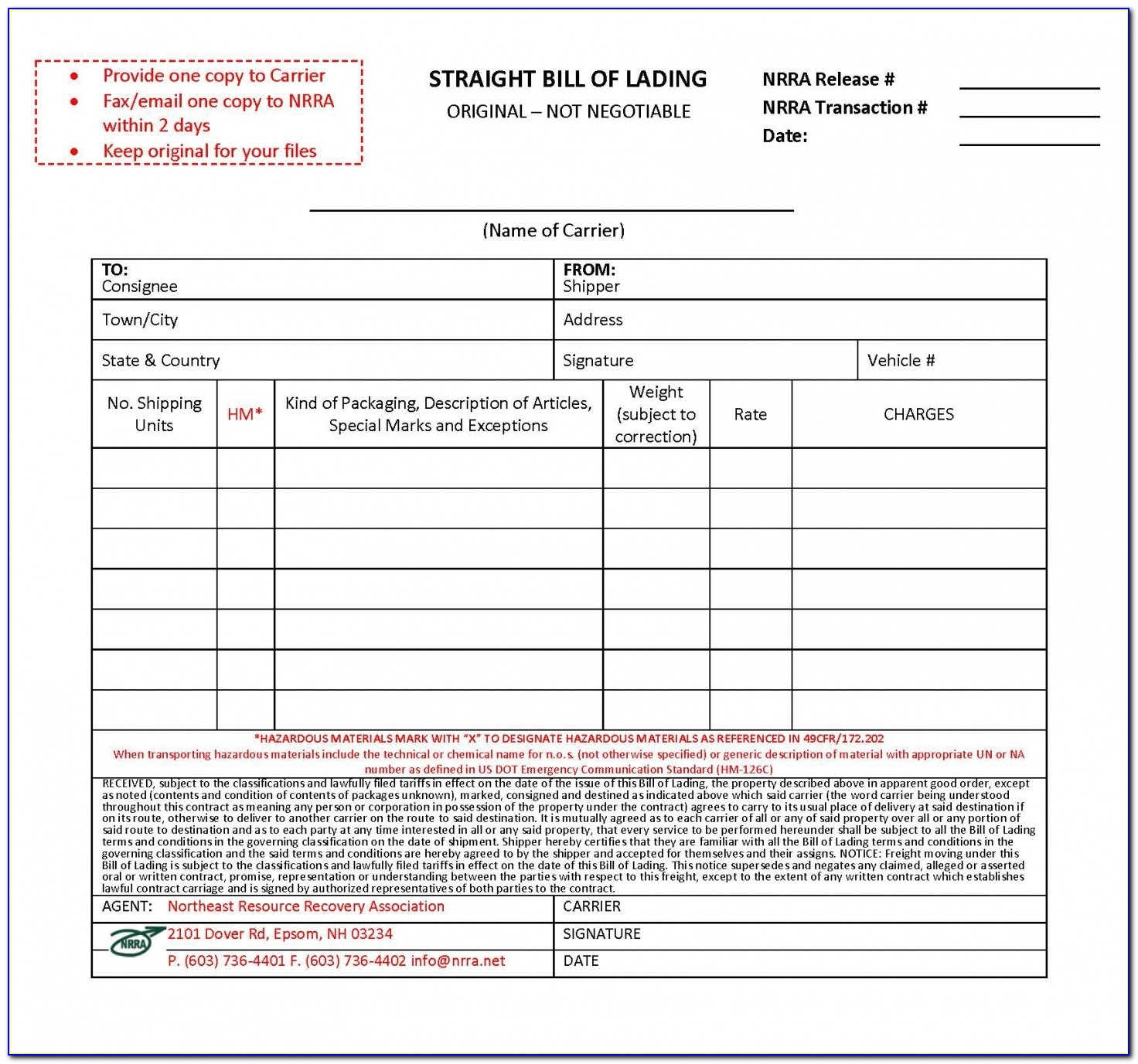 Hazmat Bill Of Lading Form Free