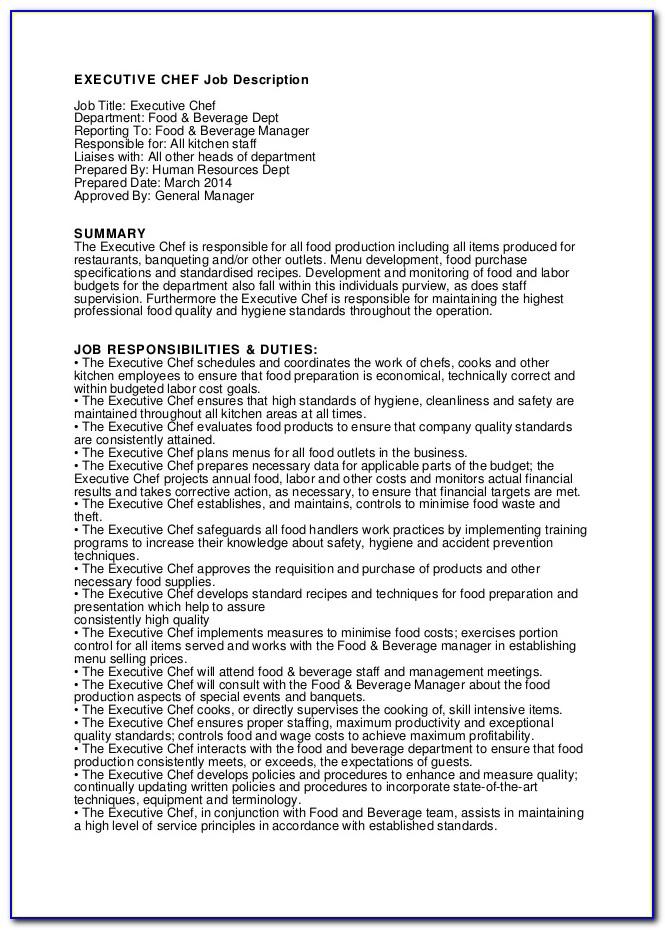 Head Chef Job Description And Duties