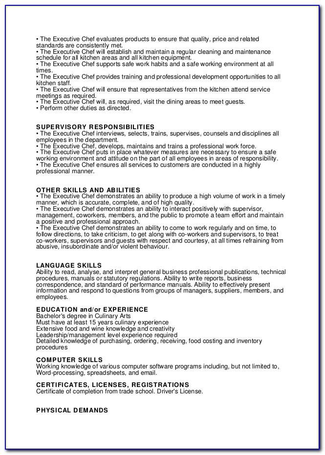 Head Chef Job Description Cv