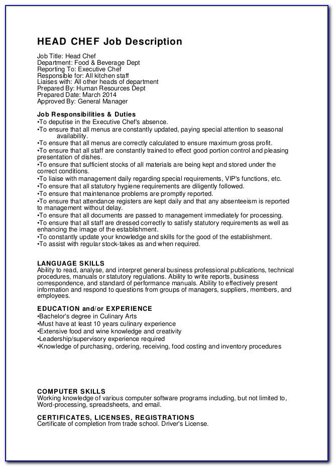 Head Chef Job Description Resume