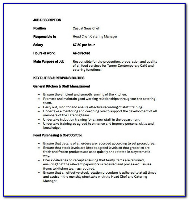Head Cook Job Description Resume