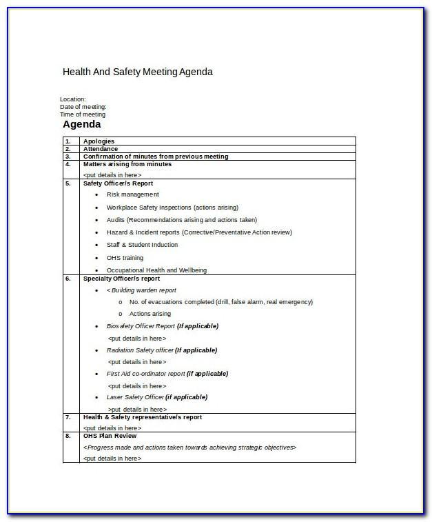 Health And Safety Committee Meeting Minutes Template