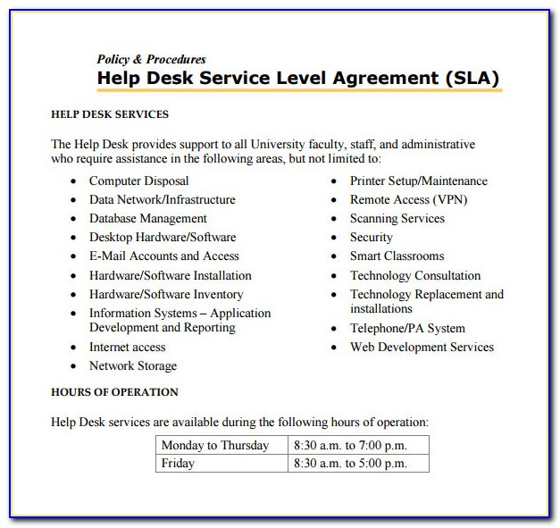 Help Desk Service Level Agreement Examples Pdf