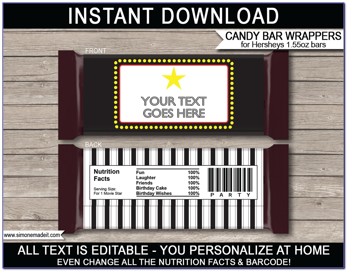 Hershey Bar Labels Template