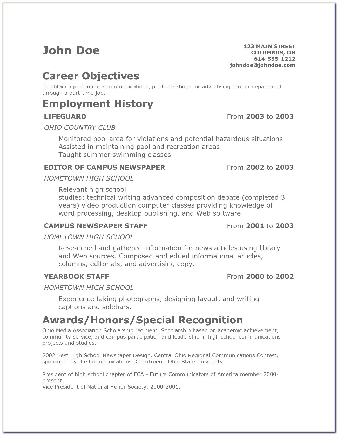 How To Write A Good Resume For A Teenager