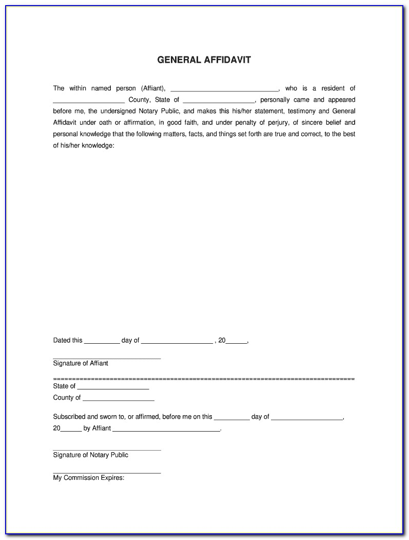 Illinois General Affidavit Form Free