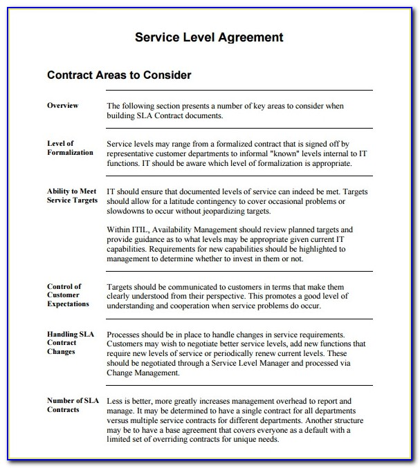It Service Level Agreement Example Pdf