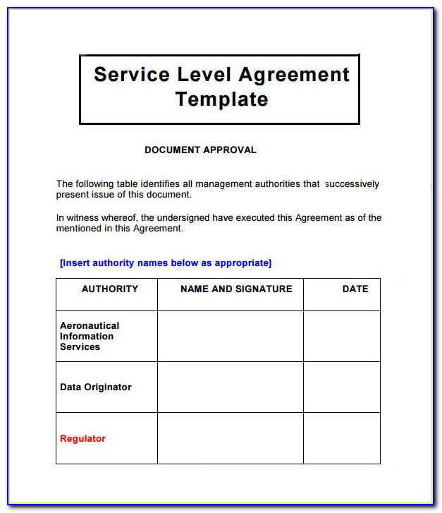 It Service Level Agreement Example