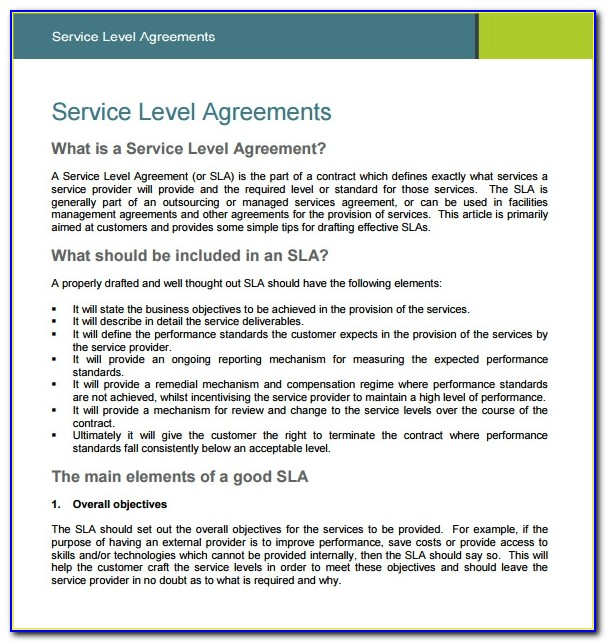 It Service Level Agreement Examples Pdf