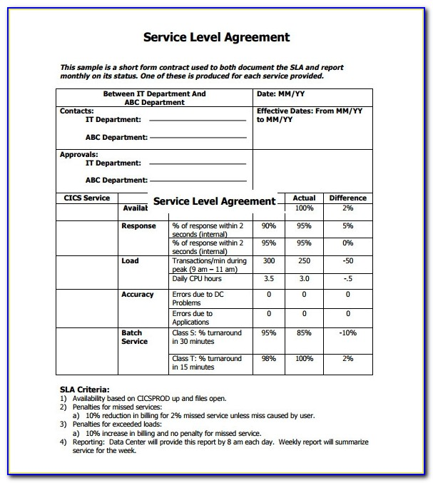 It Service Level Agreement Examples