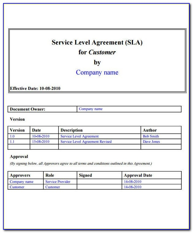 It Service Level Agreement Template Australia