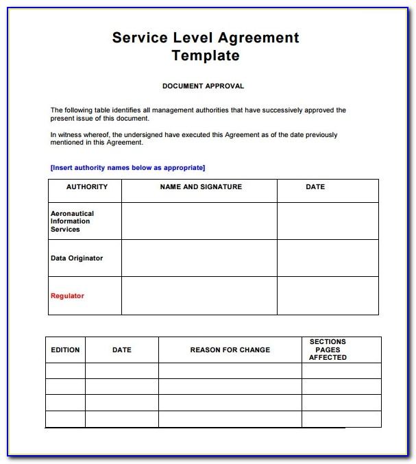 It Service Level Agreement Template Free Download