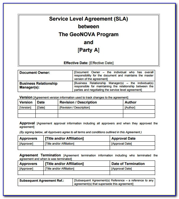 It Service Level Agreements Example