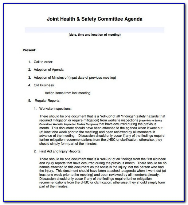 Joint Health And Safety Committee Meeting Minutes Template Ontario