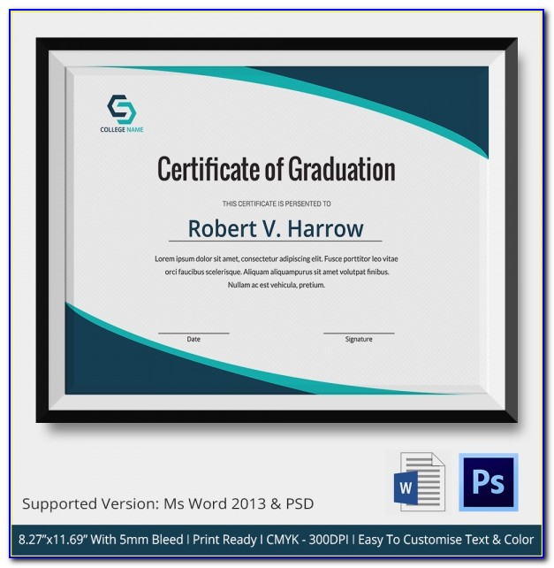 Kindergarten Graduation Certificate Template Word