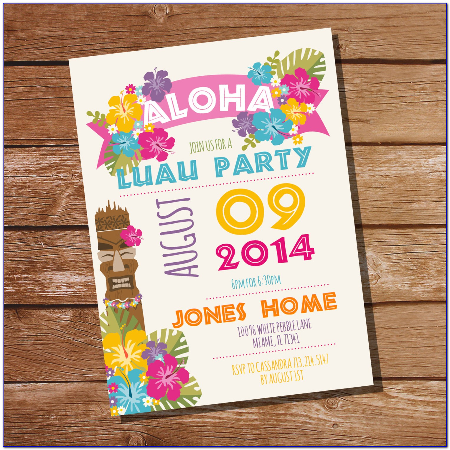 Luau Birthday Party Invitation Templates
