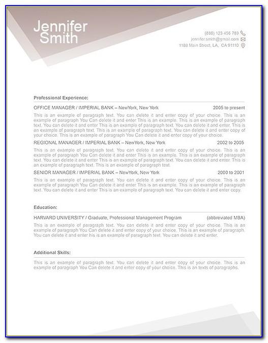 Modern Resume Templates Free Download Pdf