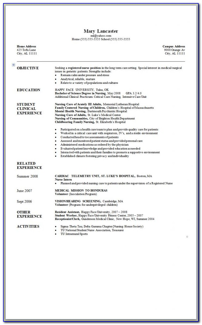 New Graduate Registered Nurse Resume Sample