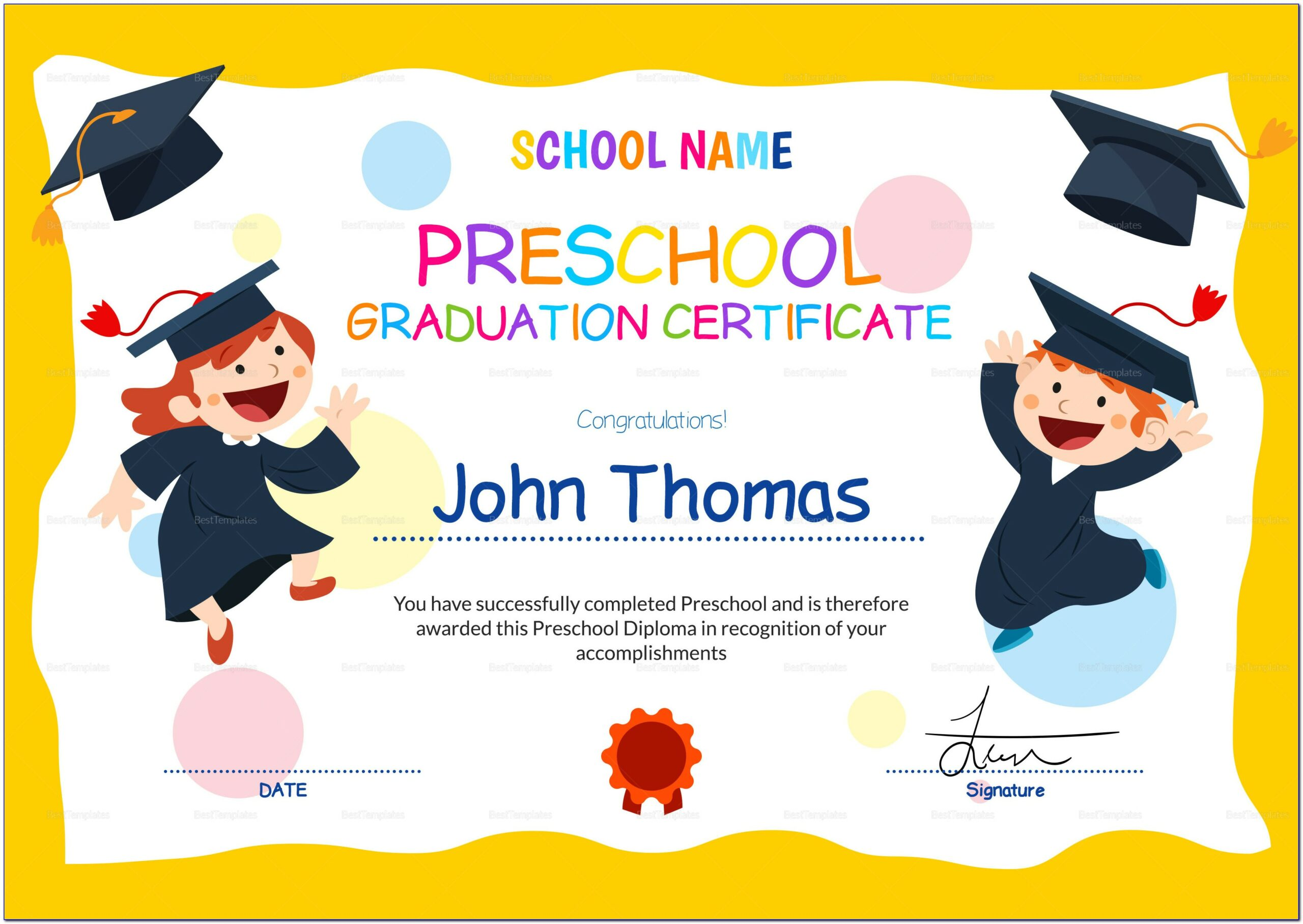 Preschool Graduation Certificate Templates Free Download