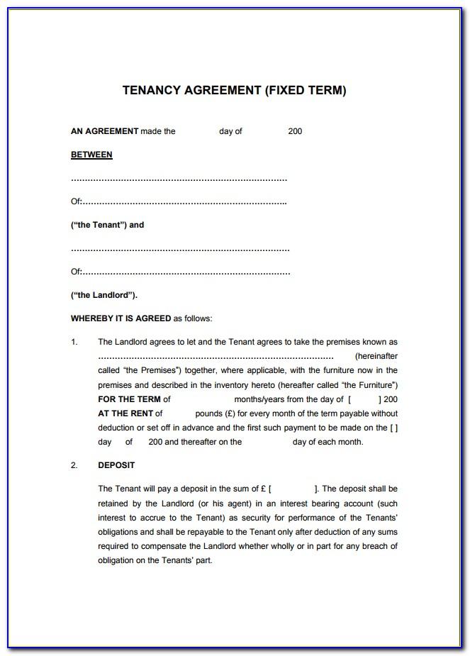Printable Free Tenancy Agreement Template Word Uk