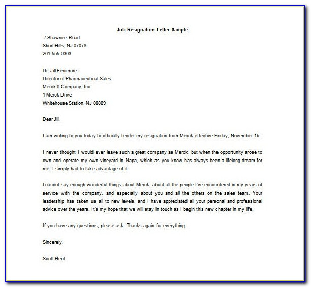 Resignation Letter Format In Word Document Free Download