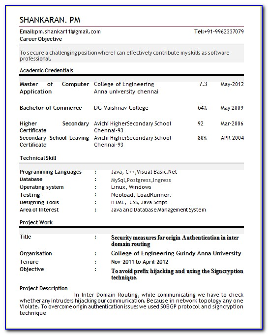Resume Format For Bca Freshers Pdf Free Download