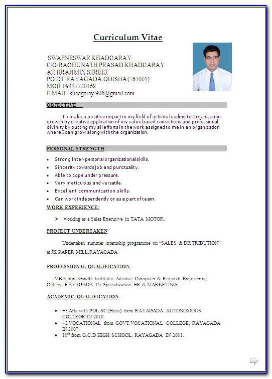 Resume Format For Fresher Doc File Free Download