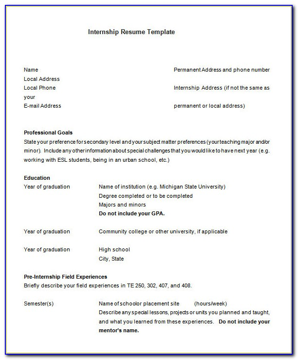 Resume Template For Internship Malaysia