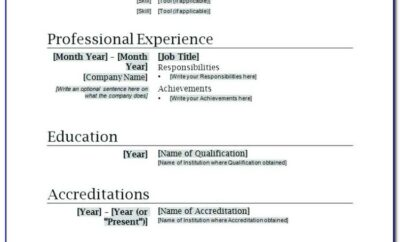 Resume Template Word Doc Free Download