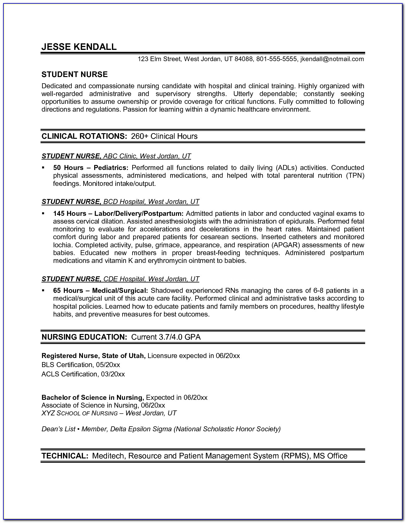 Rn Graduate Resume Template