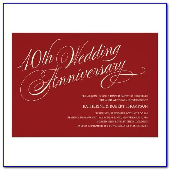 Ruby Wedding Anniversary Invitation Templates Free