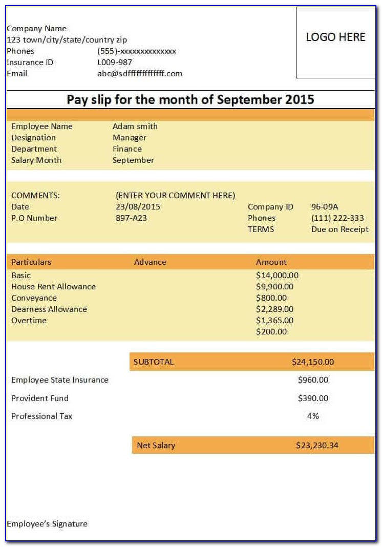 Salary Slip Template Free Download