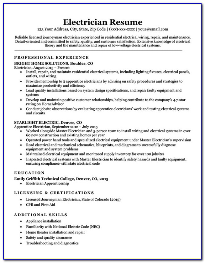 Sample Electrician Resume