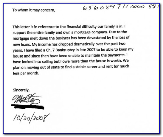 Sample Hardship Letter For Short Sale Due To Divorce